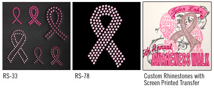 rhinestone breast cancer ribbons