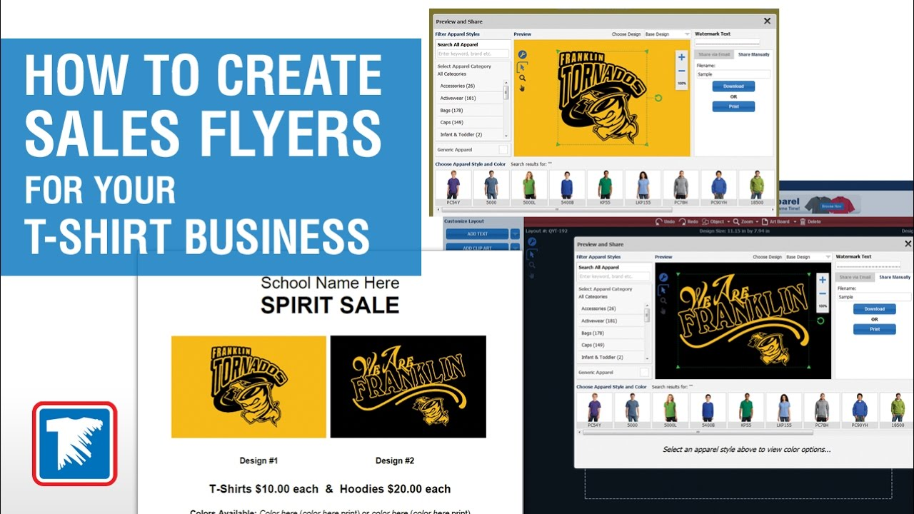 how to create sales flyers for your t shirt business videos