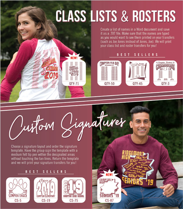 class lists and signature t-shirts